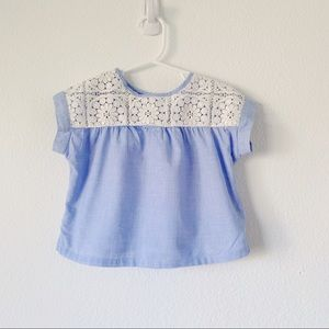 GAP Toddler white Crochet lace Blue Top | Blouse